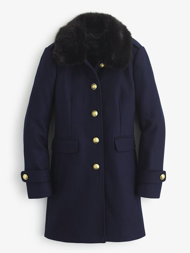 J.Crew Wool Melton Military Coat with Faux-Fur Collar