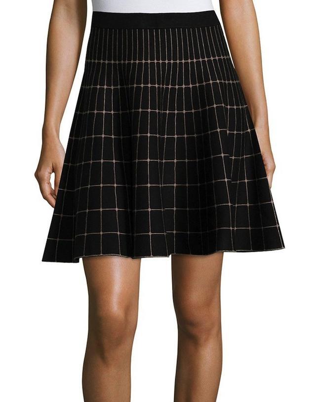 Neiman Marcus Grid-Print A-Line Skirt