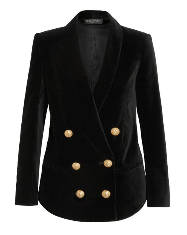 Balmain Double-Breasted Velvet Blazer