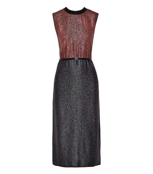 Victoria Victoria Beckham Belted Two-Tone Lamé Dress
