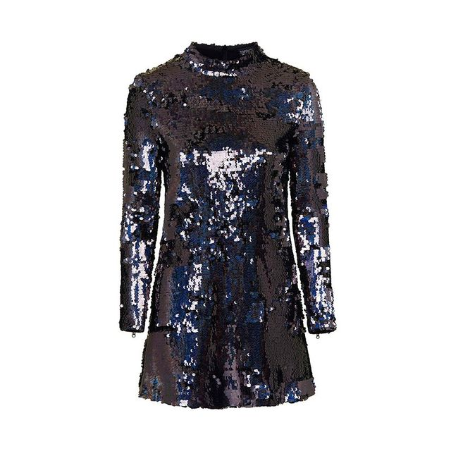 Topshop High Neck Sequin Dress