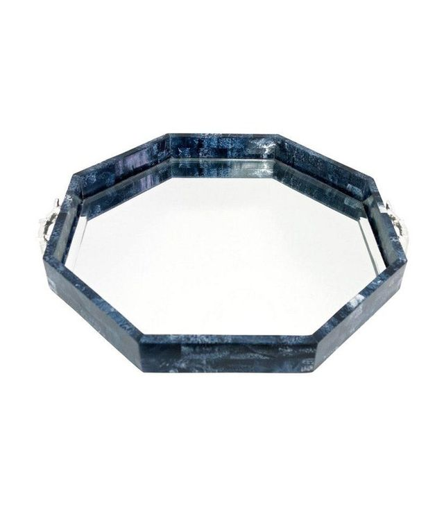 "Couture 20"" Lapis Style Mirrored Tray"