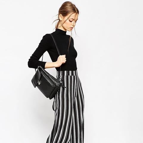 Jersey Wide Leg Trousers in Vertical Mono Stripe