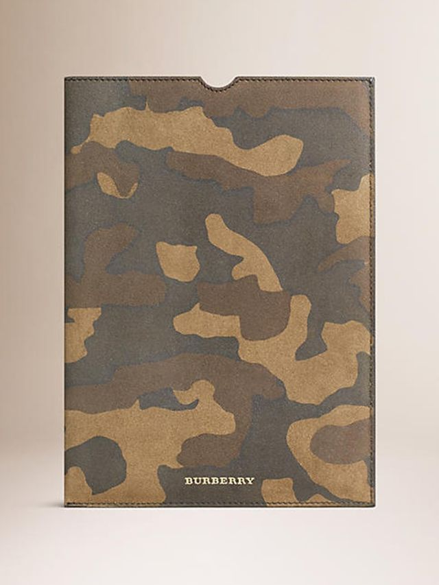 Burberry Camouflage Print Suede iPad Case