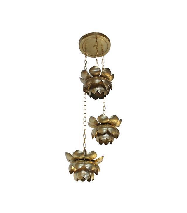 Duo Decorative Arts and Antiques, LLC Feldman Three Pendant Light Lotus Brass Chandelier
