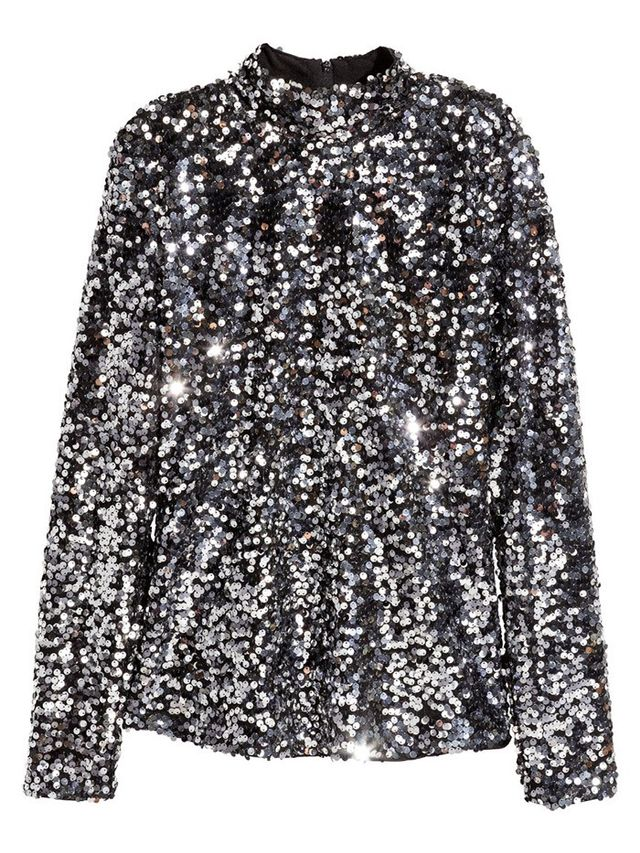 H&M Sequined Turtleneck Top