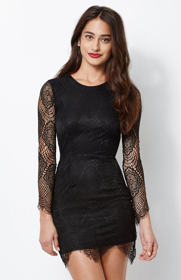 Kendall & Kylie for PacSun Lace Cutout Long Sleeve Dress