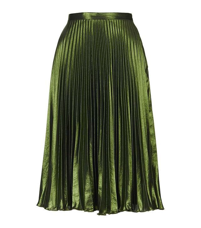 Topshop Foil Pleat Midi Skirt