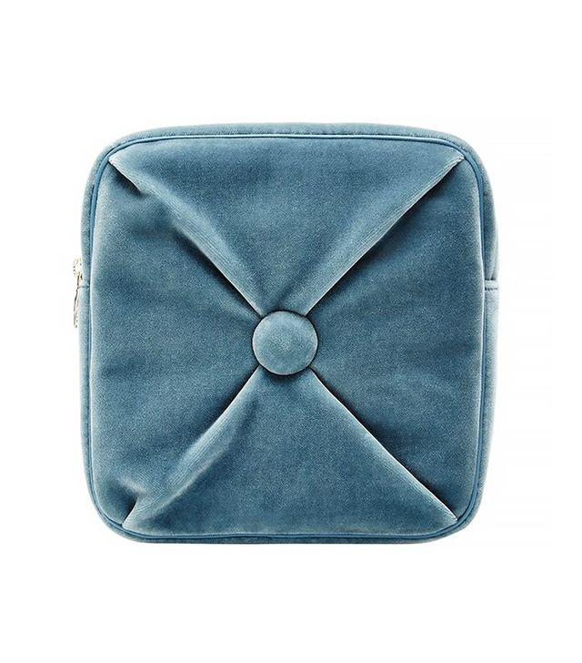 Charlotte Olympia Blue Velvet Square Cushion Pouch