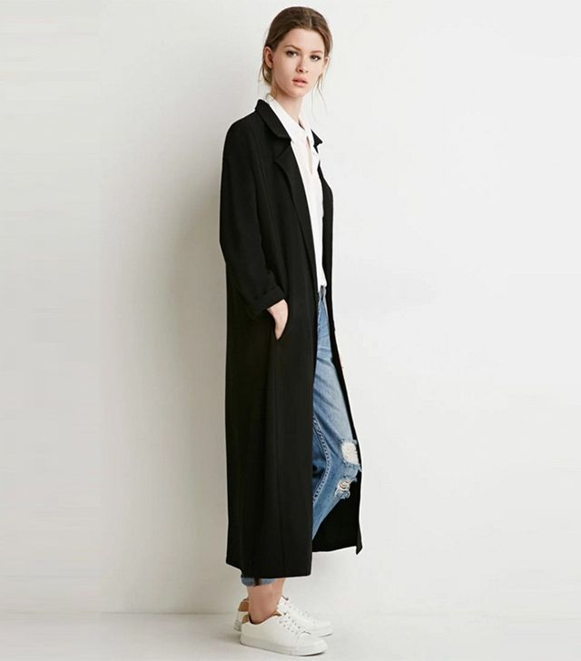 Forever 21 Contemporary Longline Open-Front Crepe Jacket