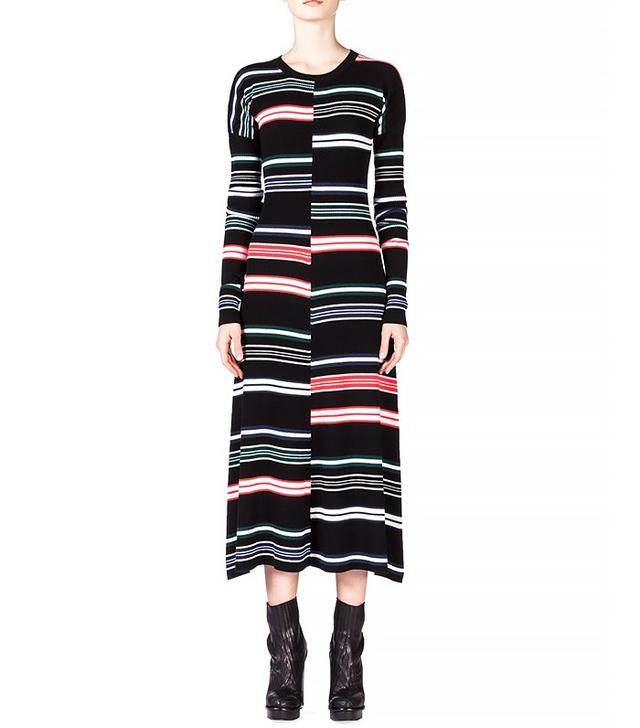 Kenzo Striped Long-Sleeve Midi Dress