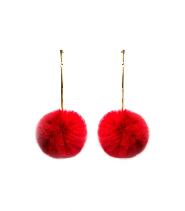 "Tuleste Small 2"" Fur Pom Pom Earrings"