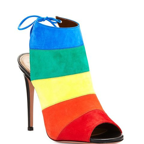 Rainbow Striped Suede Sandals