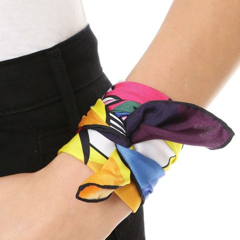 Rainbow Eye Print Silk Wrist Scarf