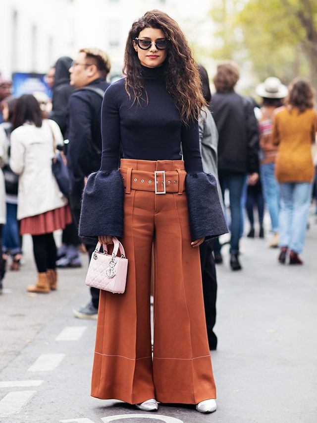 Bell sleeves plus wide-leg trousers just became the combination of the moment.