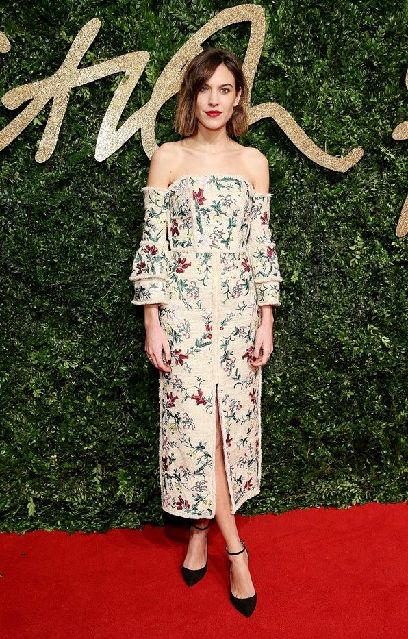 WHO: Alexa Chung WEAR: Erdem Sissy dress from the S/S 16 collection; Jimmy Choo pumps.