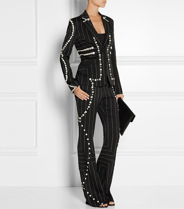 Edun Embellished Pinstriped Wool Blazer