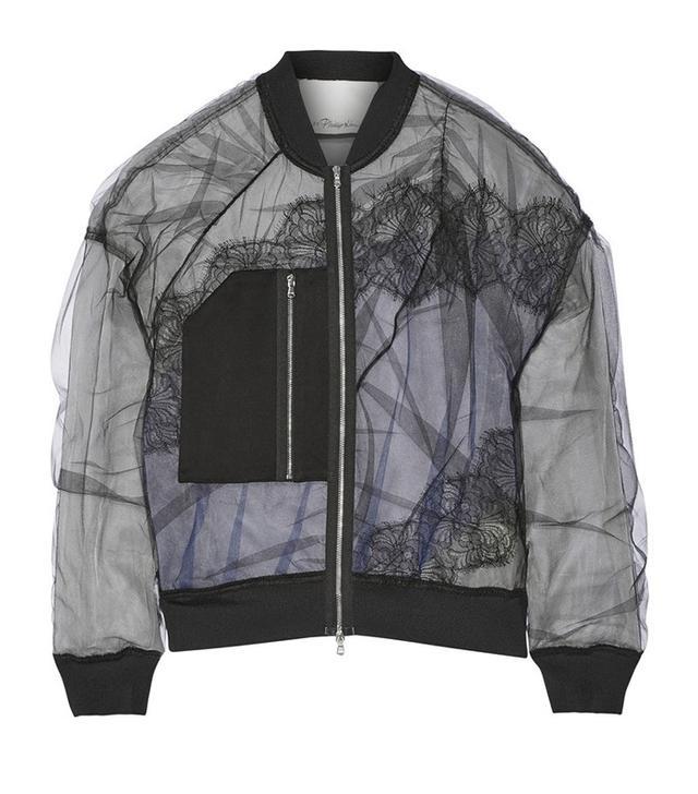 3.1 Phillip Lim Satin and Lace-Paneled Tulle Bomber Jacket