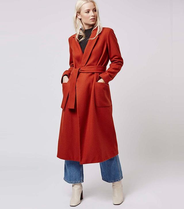 Topshop Belted Wool Blend Coat
