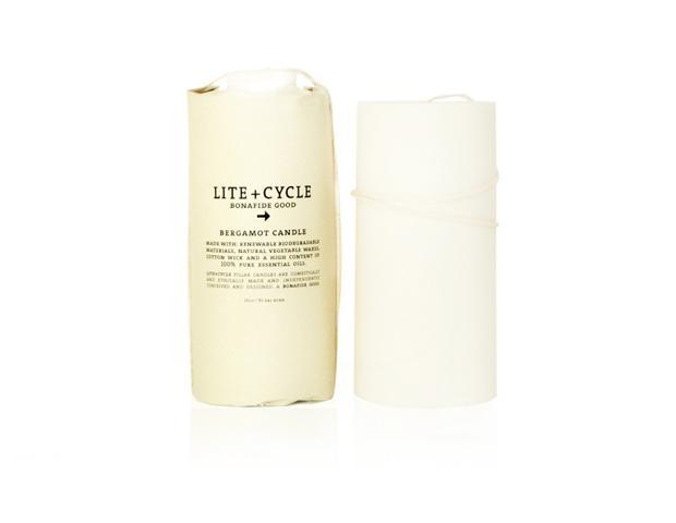 Lite + Cycle  Bergamot Pillar Candle