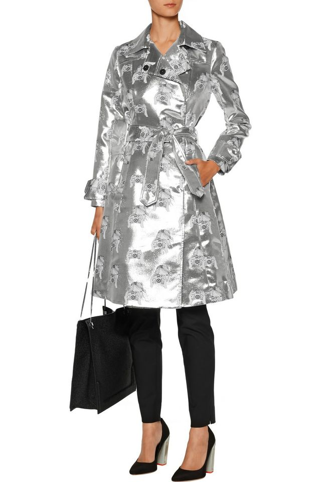 Tanya Taylor Tate Metallic Silk-Blend Jacquard Trench Coat