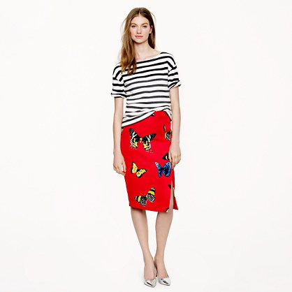 J.Crew  Collection Silk-Linen Skirt in Monarch