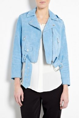 Acne  Mape Petite Cropped Suede Biker Jacket