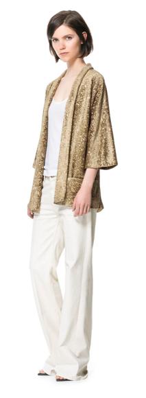 Zara Printed Velvet Kimono