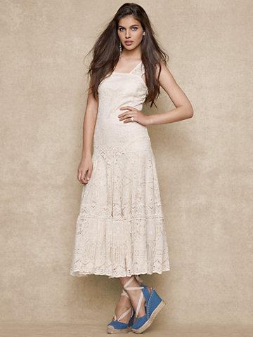 Ralph Lauren Blue Label Drop-Waist Lace Dress