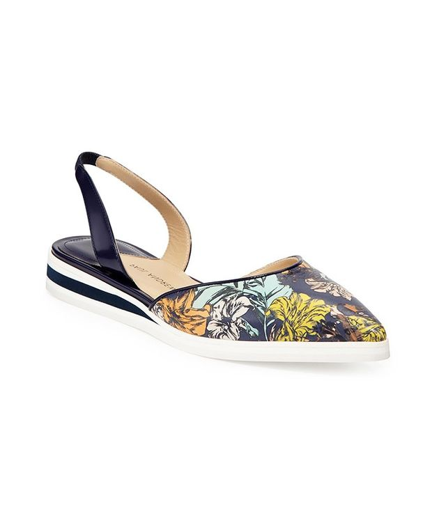 Paul Andrew Floral-Print Leather Slingback Flats