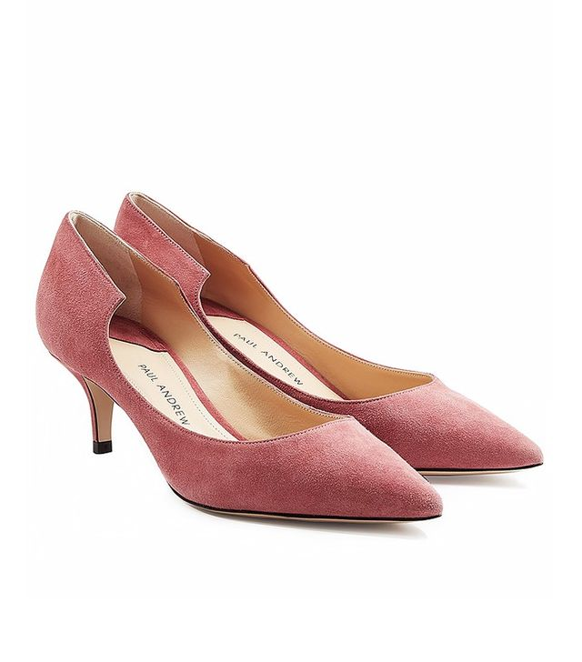 Paul Andrew Suede Kitten Heel Pumps