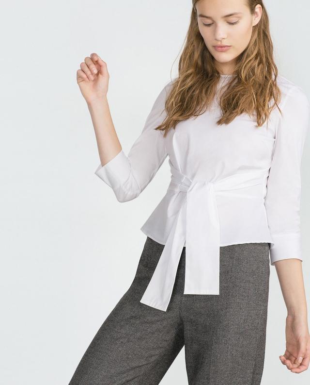 Zara Poplin Tie-Front Shirt