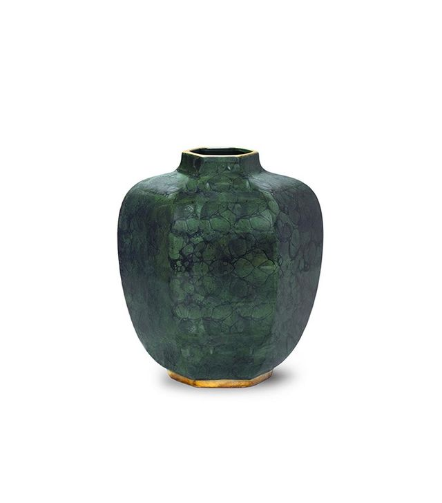 Aerin Malachite Green Geo Vase