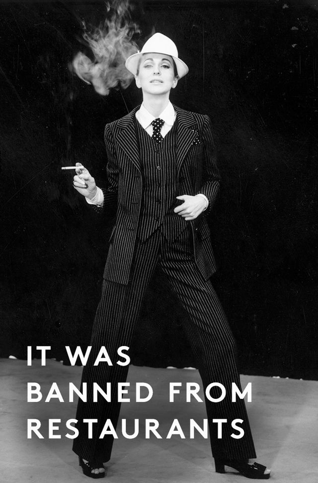 """Few respectable restaurants or hotels allowed female guests to wear them inside. Nan Kempner was famously turned away from Le Côte Basque in New York while wearing her YSL tuxedo suit. Yet..."