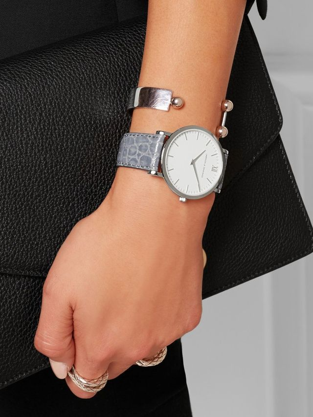 Larsson & Jennings Croc-Effect Leather and Silver-Plated Watch
