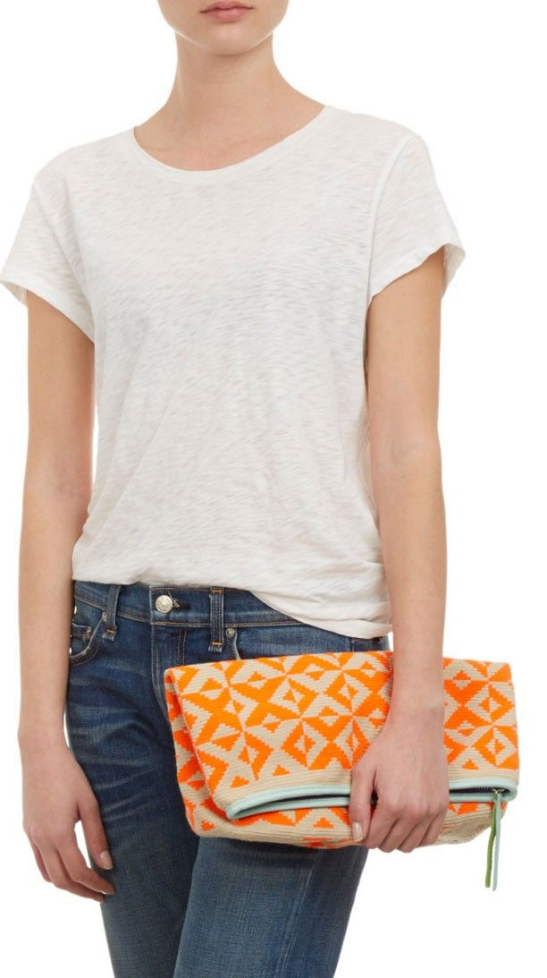 Sophie Anderson Large Fold-Over Zip Clutch