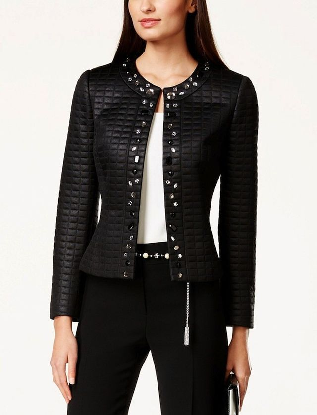 Tahari ASL Embellished Quilted Jacket