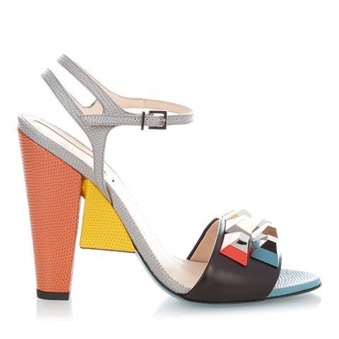 Rainbow Stud-Embellished Block-Heel Sandals