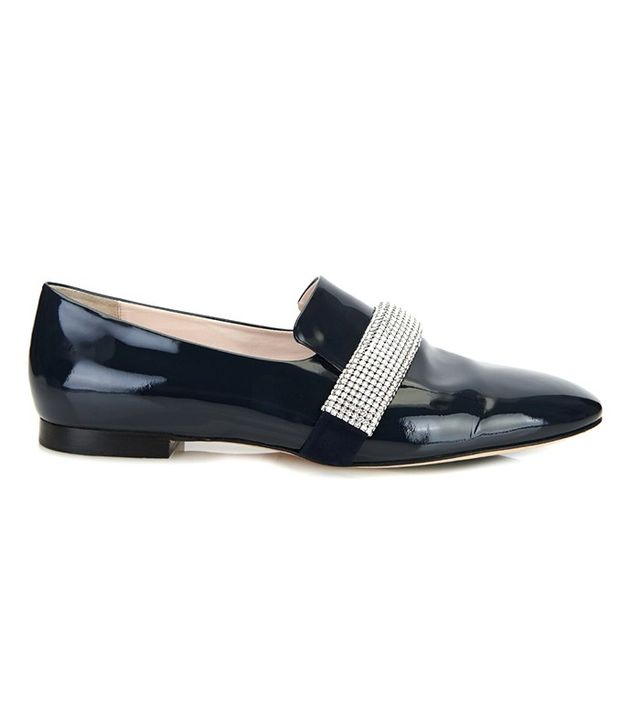 Christopher Kane Crystal-Embellished Patent-Leather Loafers