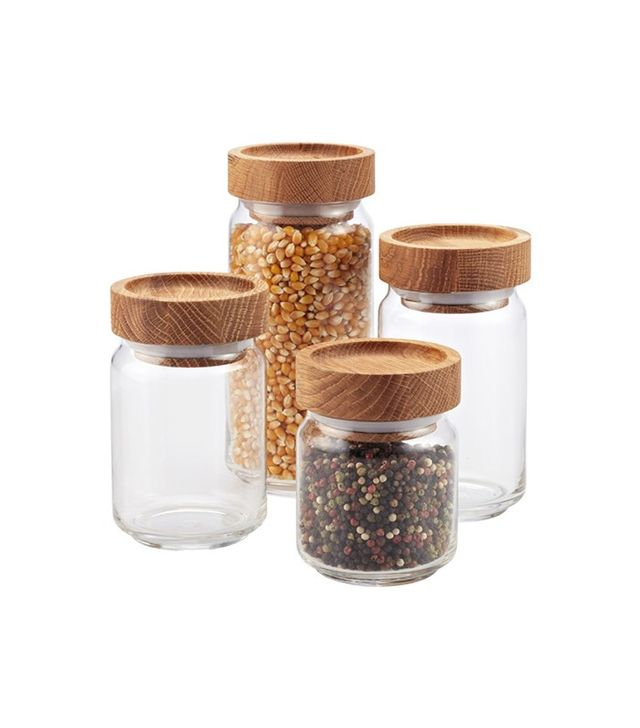 The Container Store Artisan Glass Canister with Oak Lid