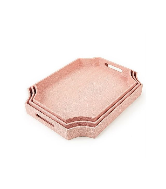 Tozai Set of 3 Coral Shagreen Trays