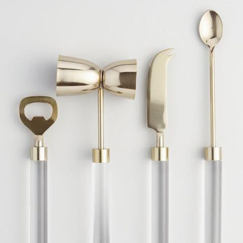 Gold and Acrylic Bar Tools (Set of 4)