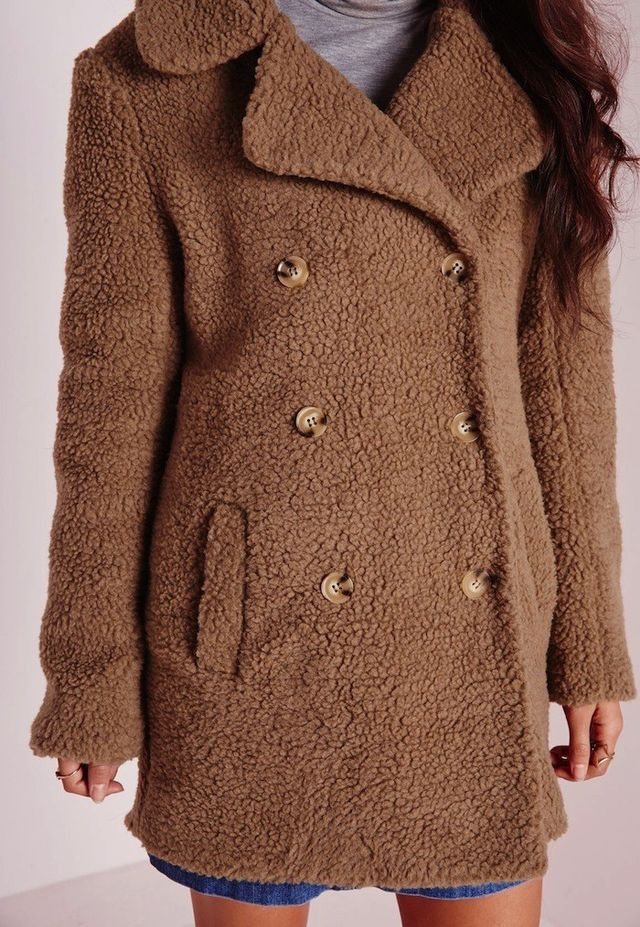 Missguided Teddy Shearling Wool Coat