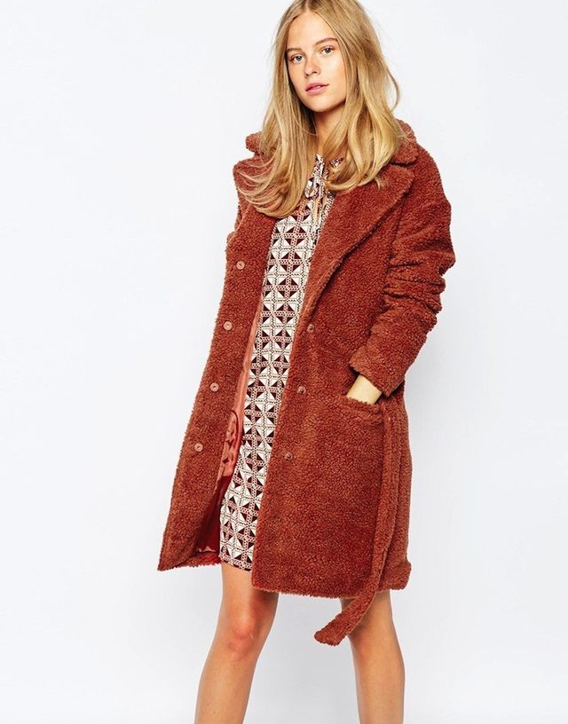 First & I Faux Teddy Fur Coat