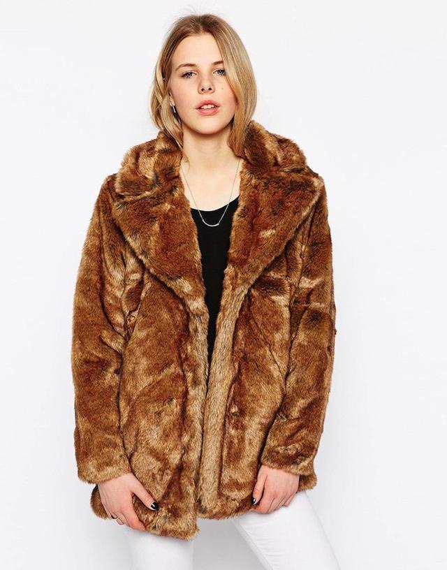 Selected Faux Fur Short Coat