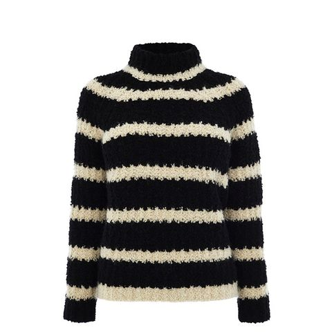 Boucle Stripe Knitted Turtle-Neck Jumper