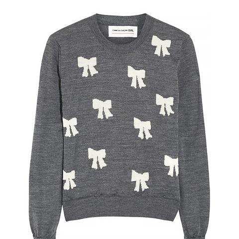 Girl Bow-Intarsia Wool Sweater