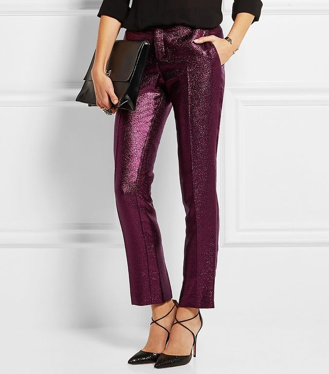 Christopher Kane Lamé Slim-Fit Pants
