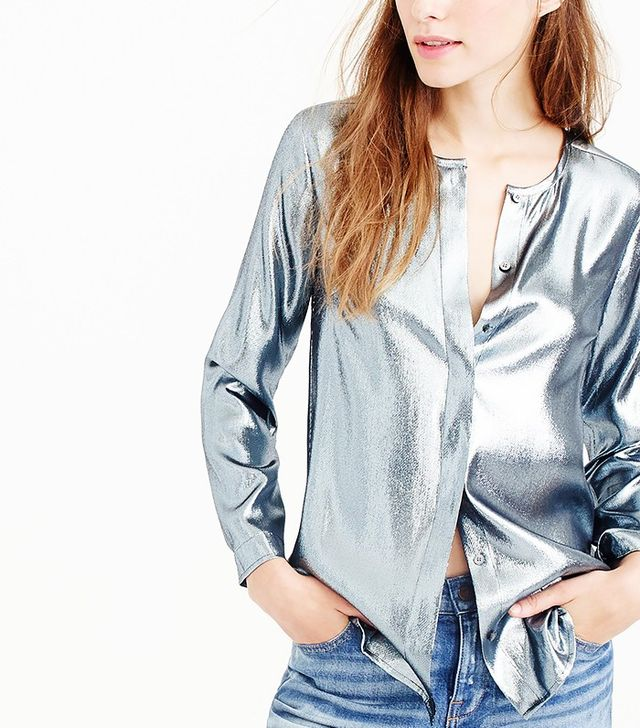 J.Crew Collection Collarless Top in Metallic Lamé