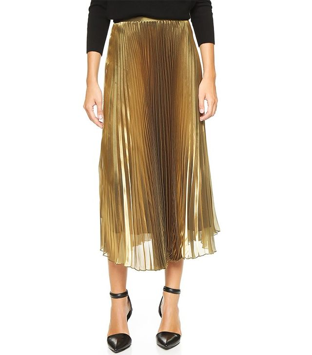 Mason by Michelle Mason Pleated Iridescent Skirt